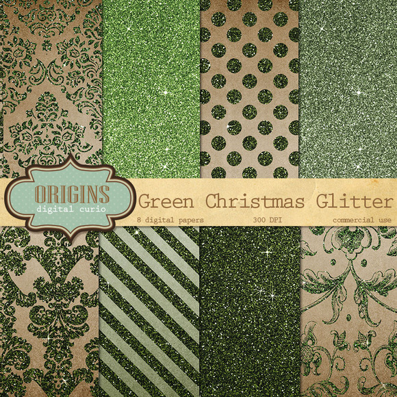Green Christmas Glitter Paper
