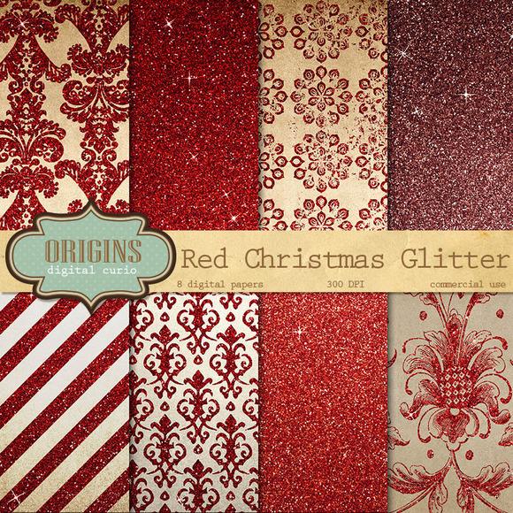 Red Christmas Glitter Digital Paper