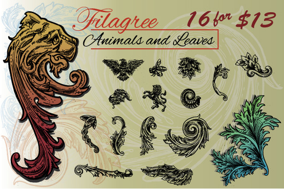 Filigree Animals And Leaves Pack