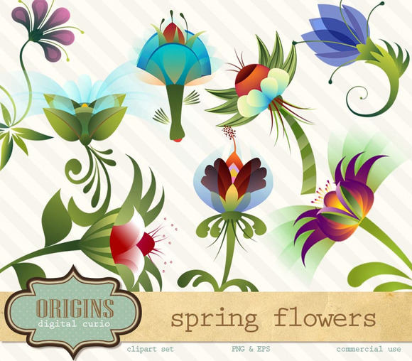 Spring Flowers EPS And PNG