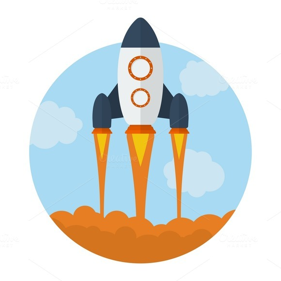 Icon Of Flying Rocket
