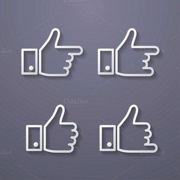 Thumbs Up Icon Set Flat Style