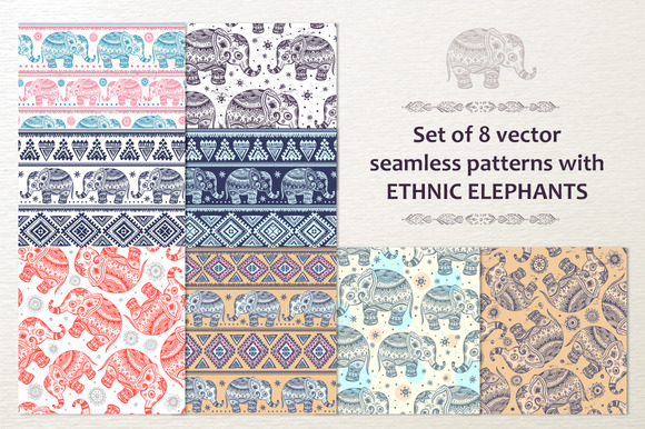 8 Ethnic Seamless Patterns