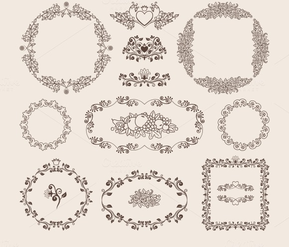 Ornamental Vector Frames And Badges
