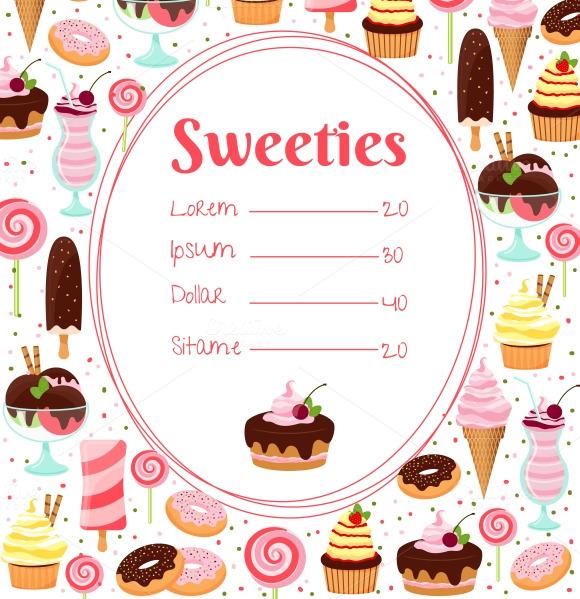 Sweets Menu Or Price List Template