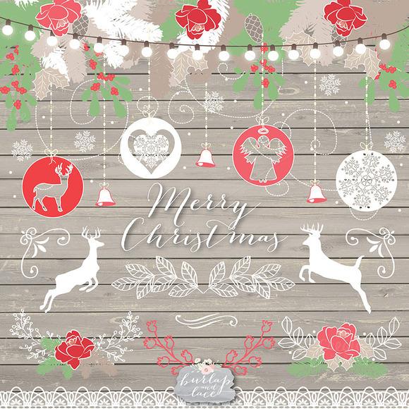 Vector Wood Chalkboard Christmas