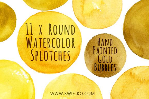 Watercolor Bubbles Gold