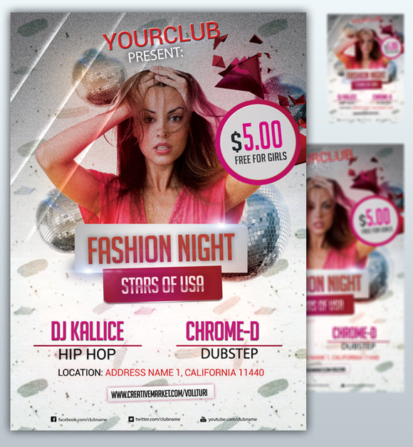 Fashion Night Flyer Party PSD
