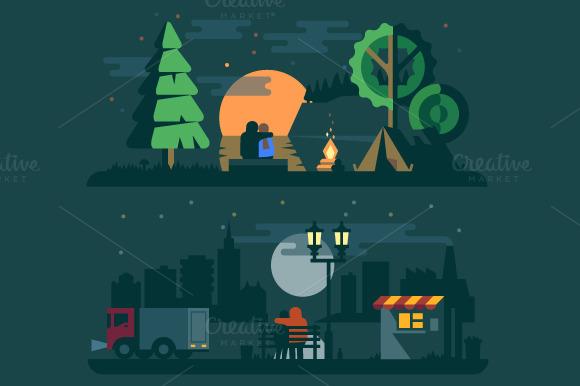 Romantic Landscape With A Couple
