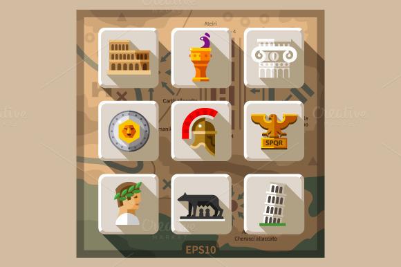 Roman Empire Flat Icon Set
