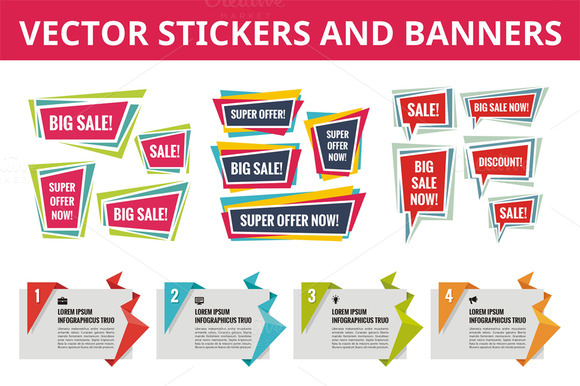 Stickers And Banners Vector Set