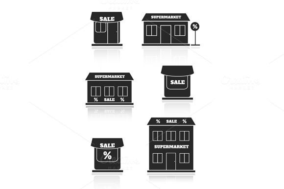 Supermarket Shop Store Icon Set