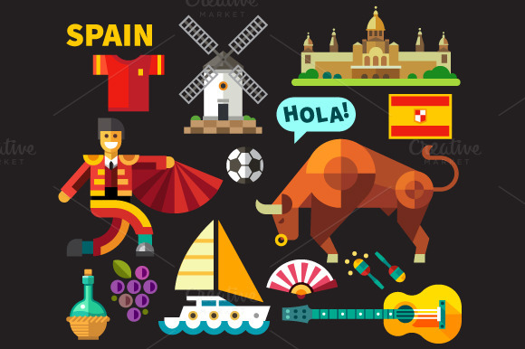 Vector Flat Spain Icons