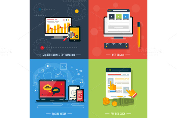 Set Icons For Web Design Seo Socia