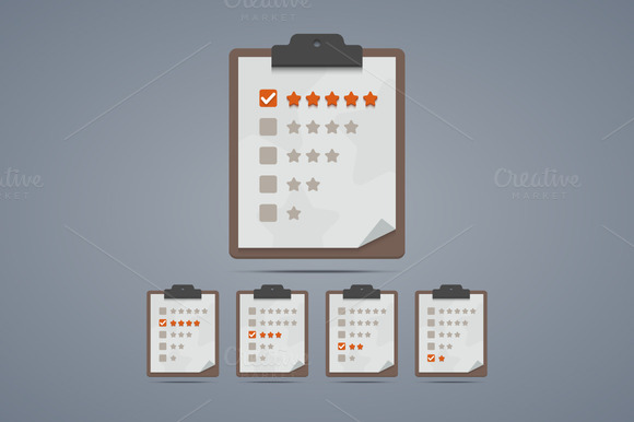 Clipboard With Rating Stars