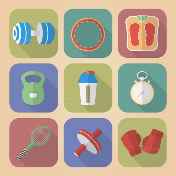 Set Of 9 Fitnes Icons