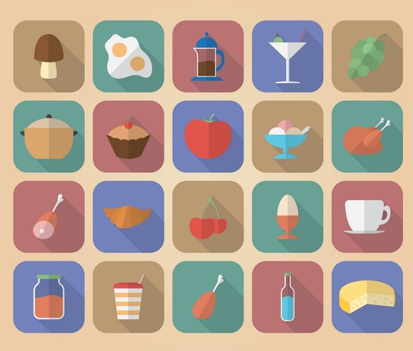 Set Of 20 Food And Drinks Icons
