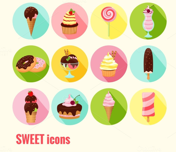 Collection Of Vector Sweet Icons