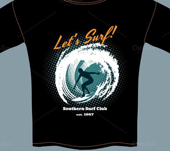 Surf Club T-shirt Template Design