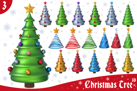 Christmas Tree 3D Set 3