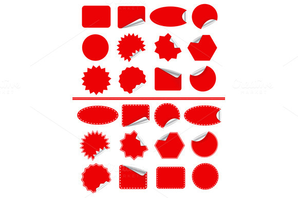 Sticker Label Set Red Sticky Isolat