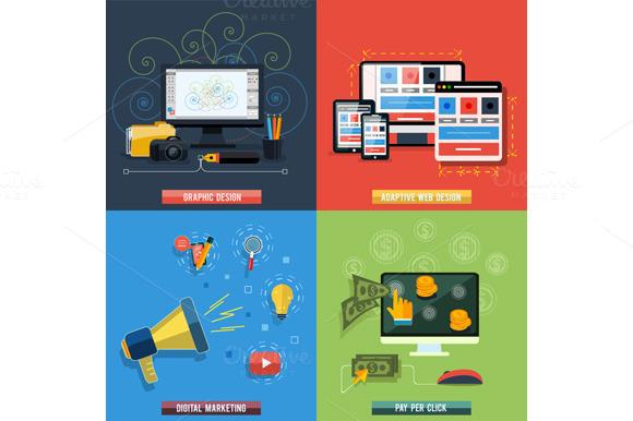 Set Icons For Web Design Seo Socia