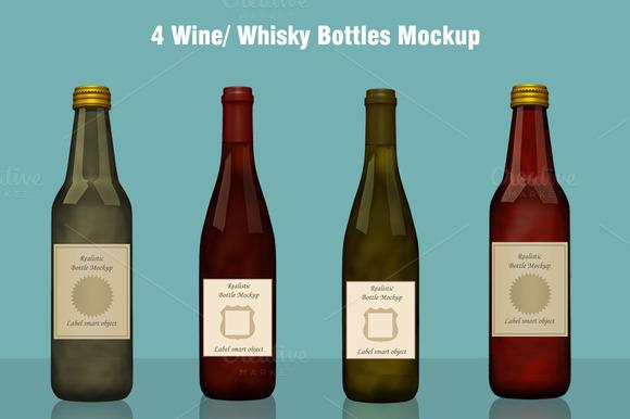 Whisky Wine Bottle Mockup