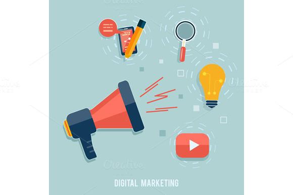 Set Digital Marketing Concept