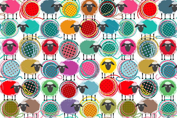Seamless Sheep Yarn Balls Pattern