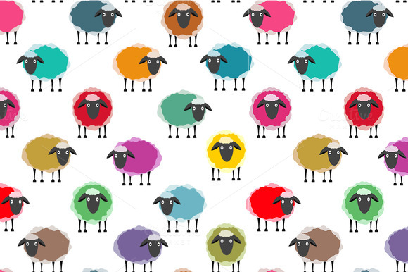 Colorful Seamless Sheep Pattern