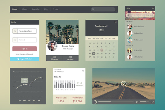 Flat UI Kit Web Design