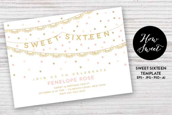 Sweet Sixteen Party Card EPS