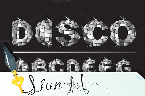 Silver Disco Ball Letters Alphabet