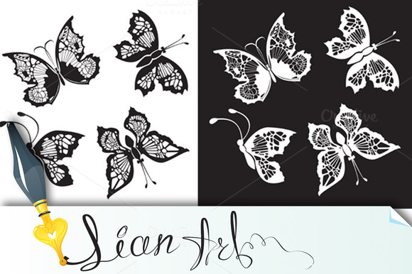 Set Of Silhouette Butterflies