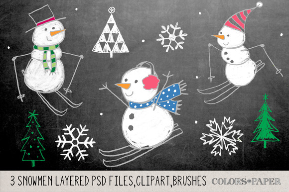 Hand Drawn Snowmen Layered PSD Files