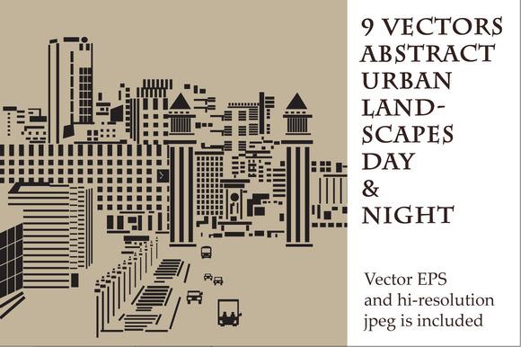9 Vectors Abstract Urban Landscapes