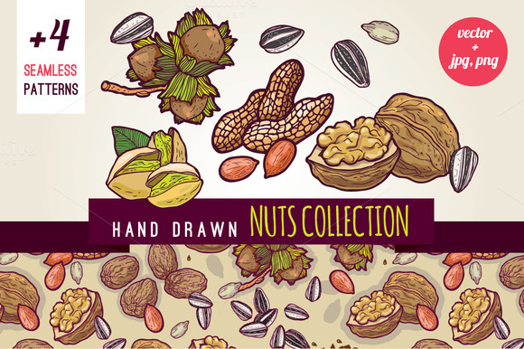 Hand Drawn Nuts And Patterns Pack