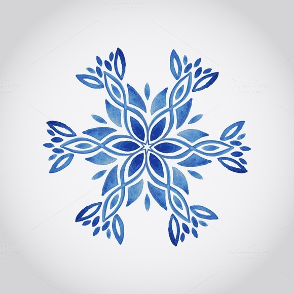 Vector Watercolor Snowflake