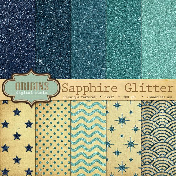 Sapphire Blue Glitter Digital Paper