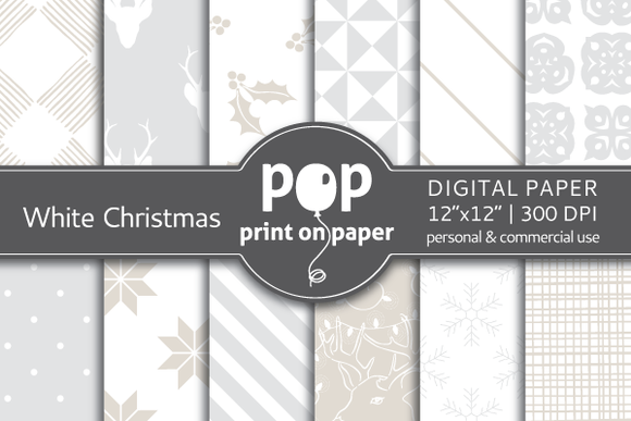 White Christmas Digital Paper JPG