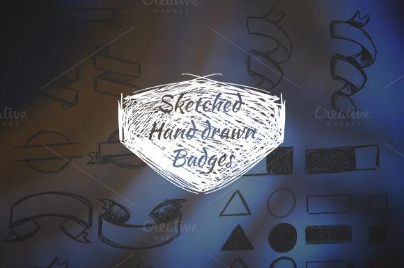 40 Hand Drawn Badges Ribbons