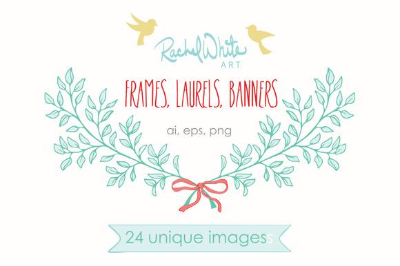 Frames Laurels Banners Vector PNG