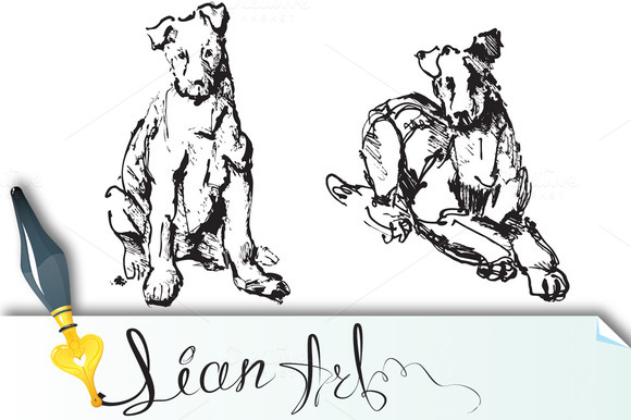 2 Ink Sketches Of Dogs