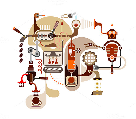 Coffee Factory Vector Illustration