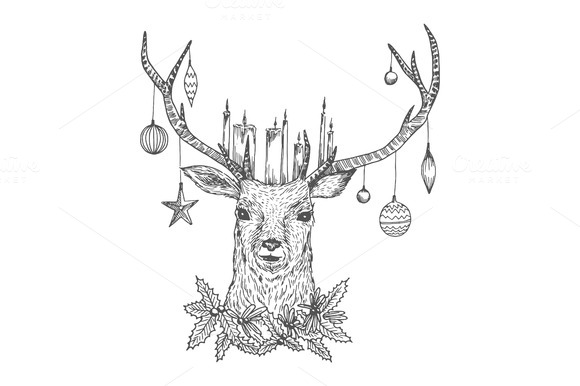 Christmas Sketch Deer