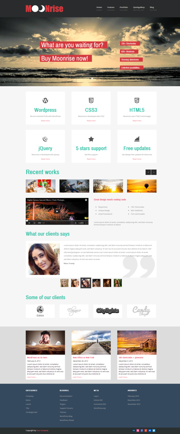 Moonrise Flat WordPress Theme
