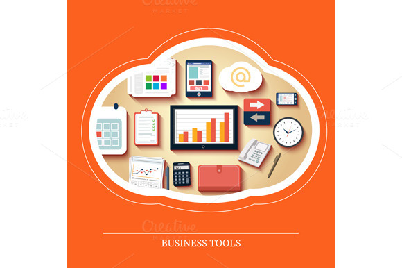 Business Tools In Flat Design