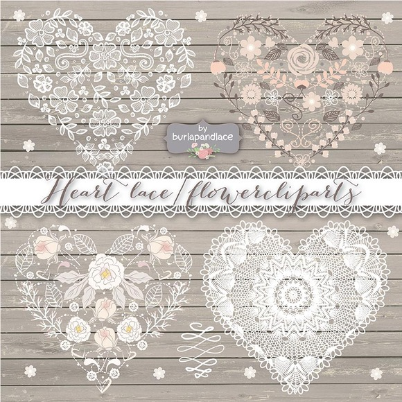 Heart Lace Flower Cliparts