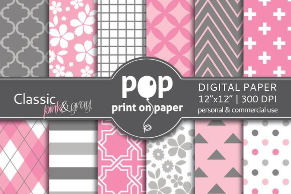 Classic Pink Gray Digital Paper