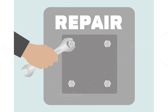 Set Hand With Wrench Repair Icon